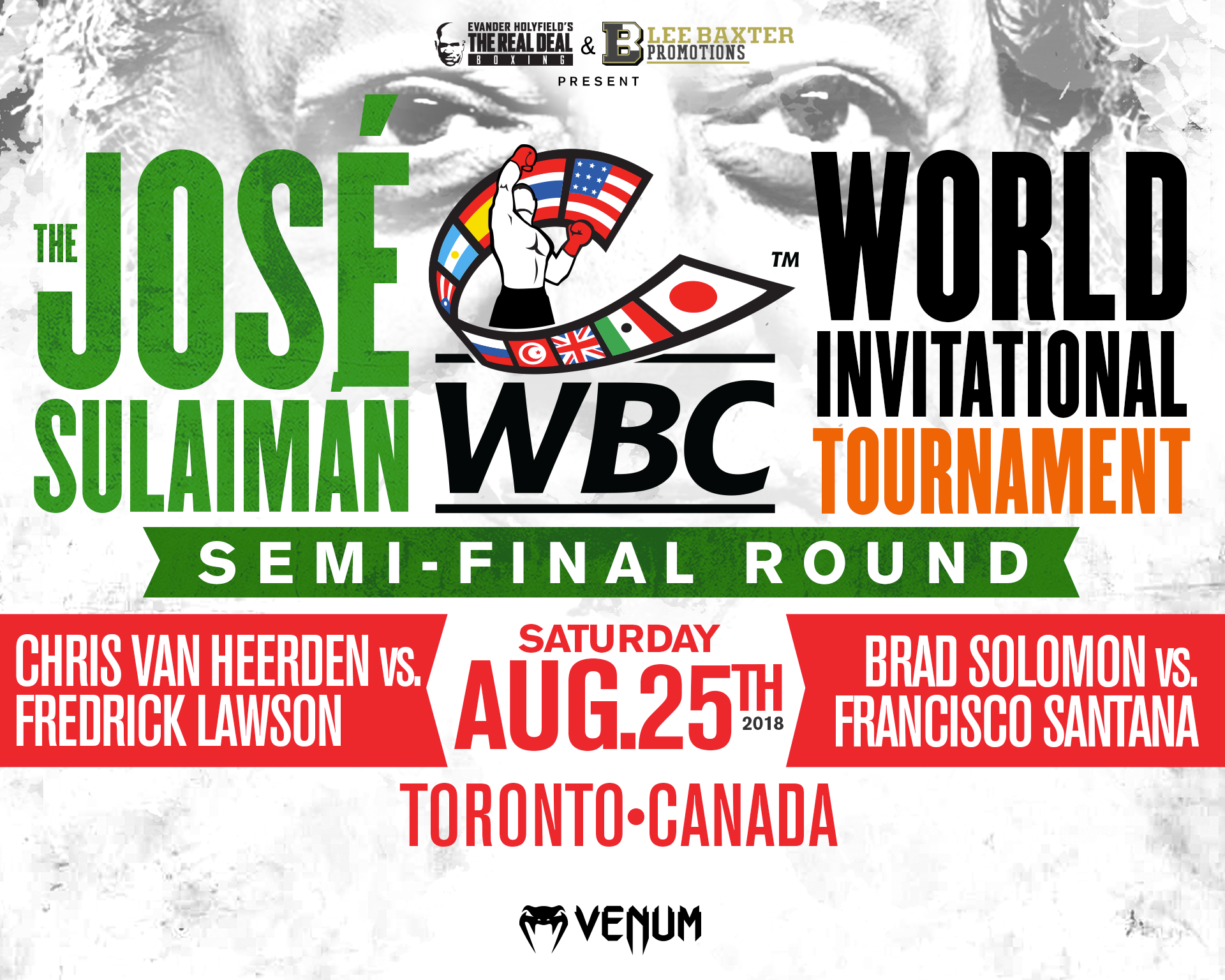 This is a flyer of the semi-final for The Jose Sulaiman World Invitational Tournament for Boxing on August 25, 2018.