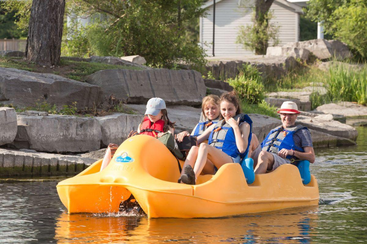 Paddleboating family