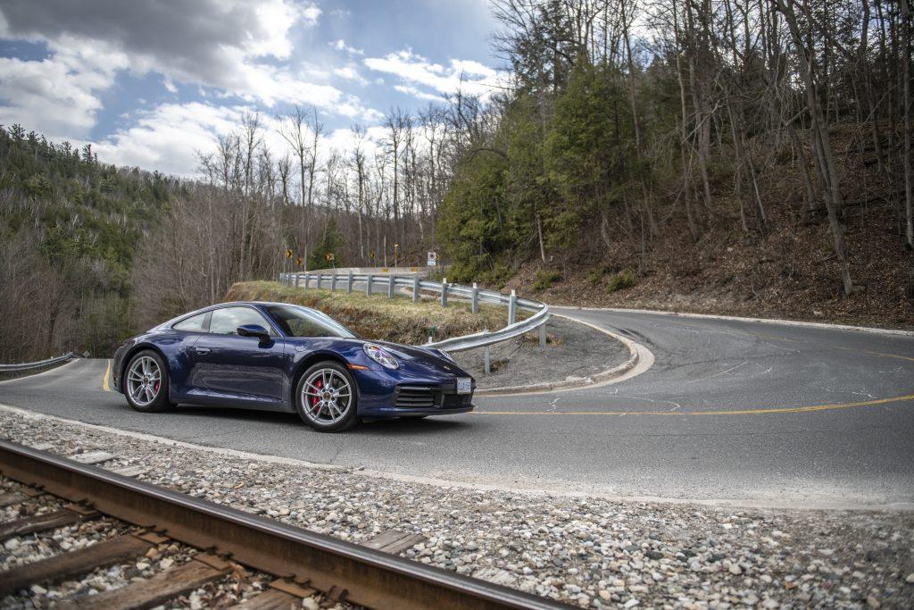 Porsche driving on the highway
