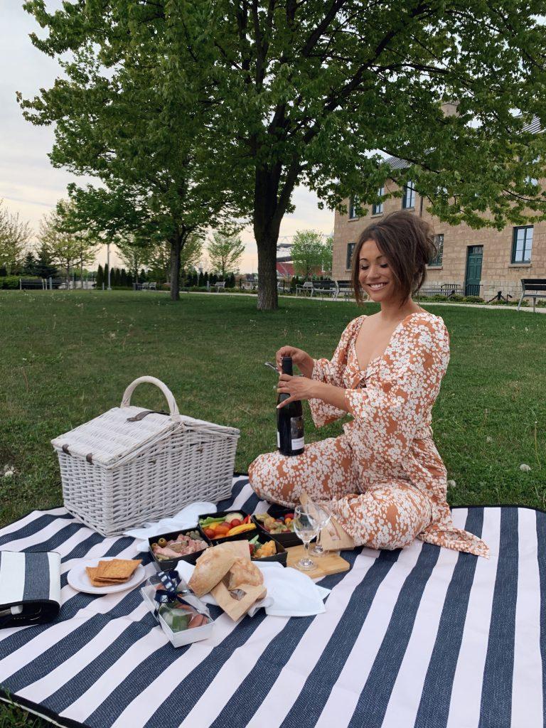Women enjoying picnic basket